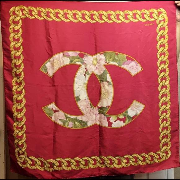 Chanel Red Silk Scarf